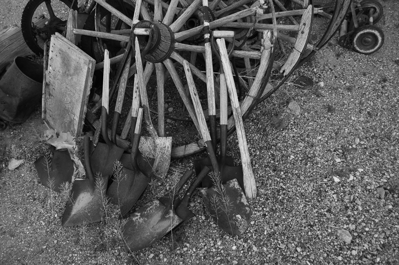 wagon wheel and shovels