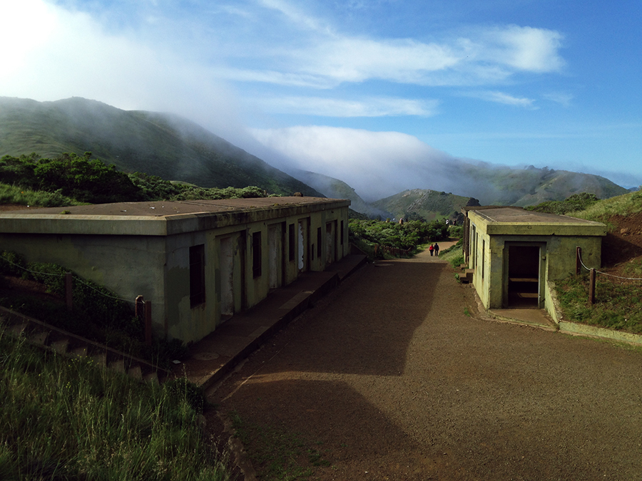 fog flowing through abandoned bunkers