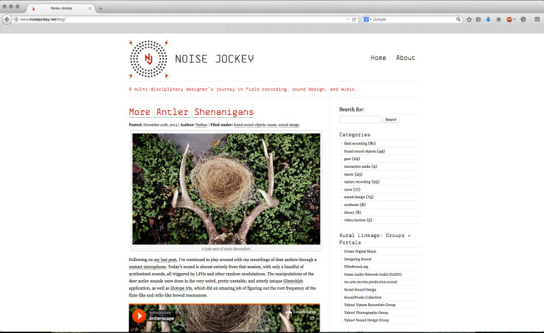 Noise Jockey website redesign, gerg werk