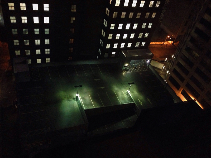 parking structure at night